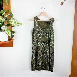 J Crew Sequin Sleeveless Olive Mini Dress Lined 8